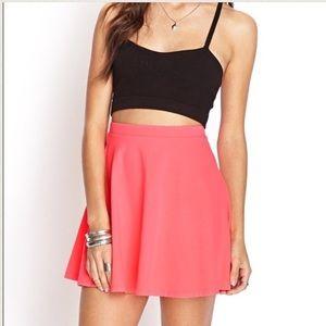 Bright Pink / Coral Circle / Skater Skirt